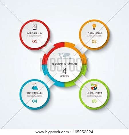 Infographic diagram with 4 options. Vector template what can be used as circular chart, numbered banner, workflow layout, graph, report, presentation, web design.