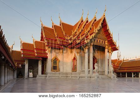 Marble temple sunset tone Bangkok Thailand Landmark