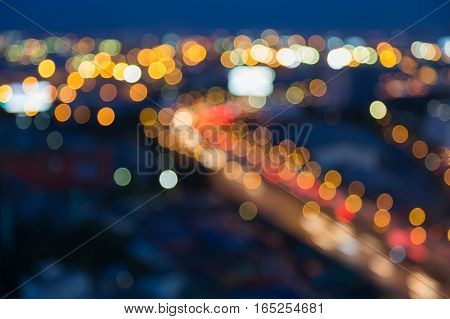 Blurred lights night view road curved abstract background