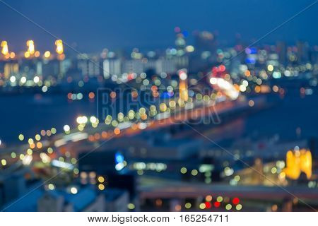 Aerial view blurred lights Kobe city road and port abstrat background