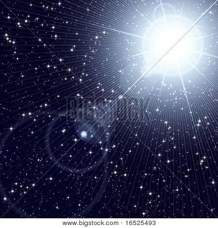 Heller Stern in den Sternenhimmel Kosmos Leuchten.