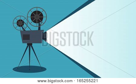 Retro cinema icon on blue background, vector illustration with copy space
