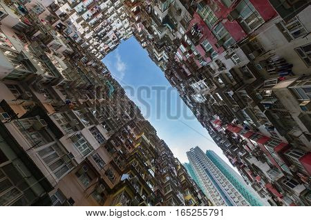 City apartment from botom view Hong Kong city residences area