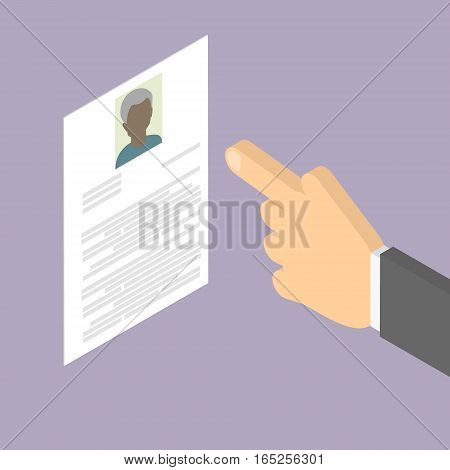 Search employee. Search for African American old man. Employment of older people. Summary. Vector isometric