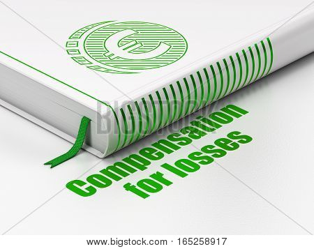 Money concept: closed book with Green Euro Coin icon and text Compensation For losses on floor, white background, 3D rendering