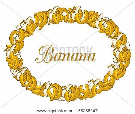 Frame made of of Cartoon Yellow Bananas on white background. Single Banana, Peeled Bunch, Slices