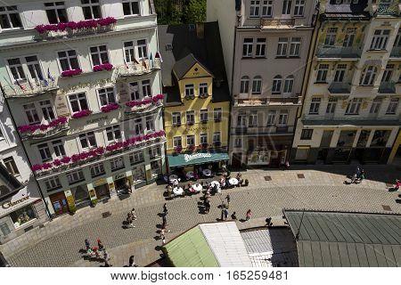 Karlovy Vary, Czech Republic - July 3: People Walk On Streets Of Spa Town Karlovy Vary On July 3, 20
