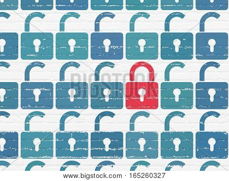 Protection concept: rows of Painted blue opened padlock icons around red closed padlock icon on White Brick wall background