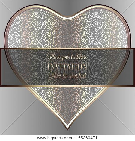 Romantic Background With Luxury Holograhpic And Gold Vintage Frame, Victorian Banner, Heart Made Of