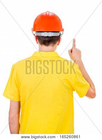 Man Rear View in Hard Hat with Finger Up Isolated on the White Background