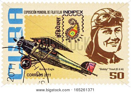 MOSCOW RUSSIA - January 14 2017: A stamp printed in Cuba shows American aviator Evelyn