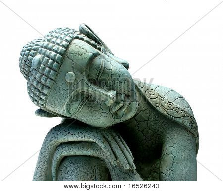 Buddha entspannende obere dritte Ernte, isolated on white