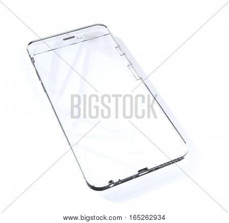 White glass phone with hotspots over white