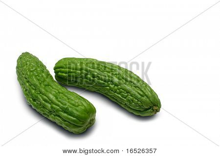 Bitter Melonen, isolated on white