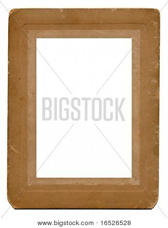Antique photo mount card, isolated on white with cut out for picture placement
