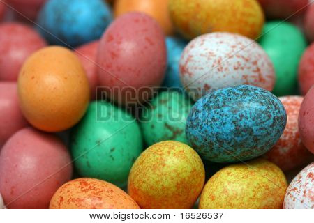 Speckled candy Easter Eggs, shallow depth of field