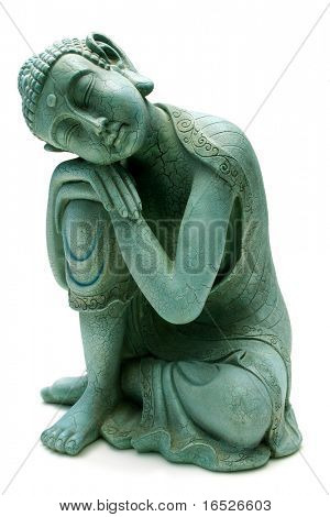 Buddha entspannenden isolated on White - Gips-statuette