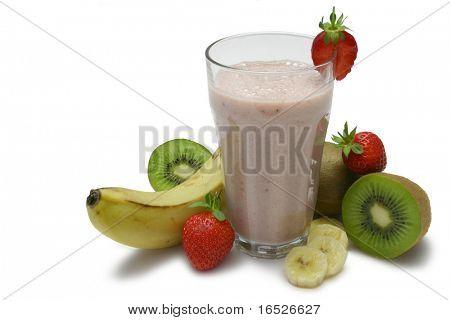 Fruit smoothie with fresh fruit, isolated on white