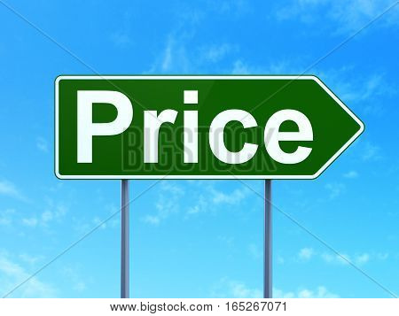 Advertising concept: Price on green road highway sign, clear blue sky background, 3D rendering