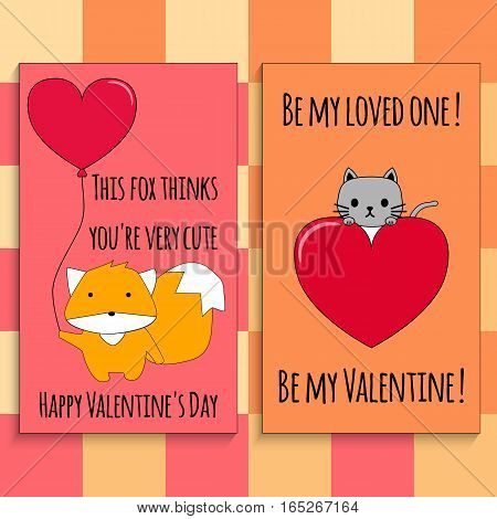 Postcard on Valentine's Day. Cute cat and a fox with red hearts and congratulations on a colorful background.