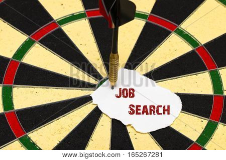 Job Search. Darts With Dart Which Was Pinned A Sheet Of Paper For Labels