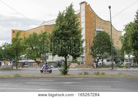 BERLIN GERMANY - JULY 12 2016: Berliner Philharmonie concert hall in Berlin. Home to the Berlin Philharmonic Orchestra