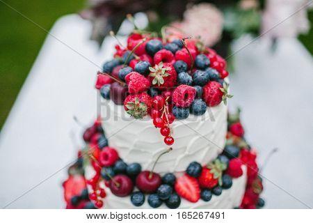 White wedding cake closeup with berries. Sweet food