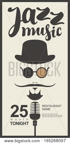 man face with a mustache and wearing a hat and glasses with a microphone and an inscription jazz music in hipster style