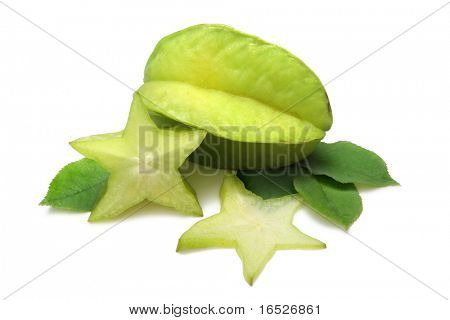 Star Fruit (Carambola) on white with clipping path