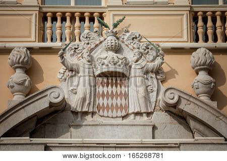 Architectural Detail With Monaco Coat Of Arms - Royal Arms Of Prince Albert Ii, Monarch And Head Of