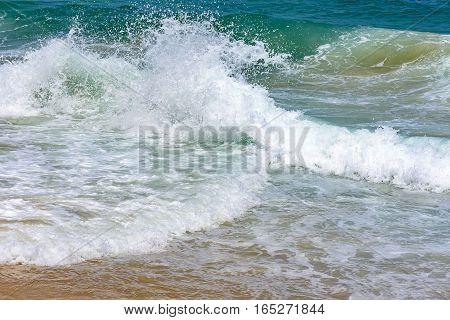 Waves breaking on the Devil beach in Rio de Janeiro