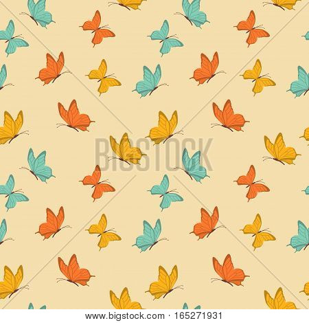 Retro seamless pattern with butterfly. Vintage design. Vector illustration. Background in flat style.