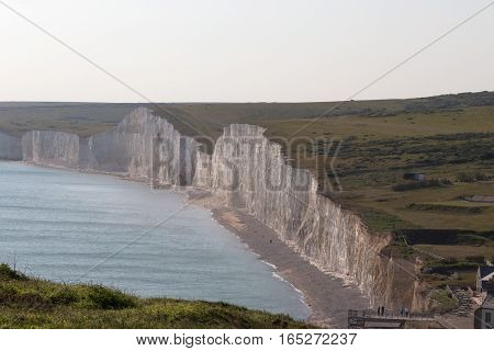 Taken on an early summers day of this panorama of the Seven Sisters chalk cliffs in Sussex.