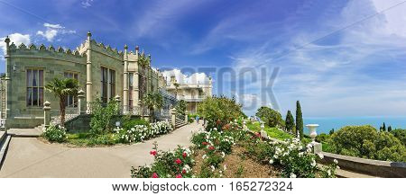 flower Beds with roses on the southern terraces of the Vorontsov Palace. Yalta Alupka Crimea Russia