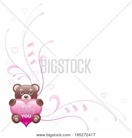 Happy Valentines day border. I love you - text lettering. Toy bear isolated frame, white background. Heart romance, cute romantic dating vector illustration. Holiday corner design. Flat cartoon sign.