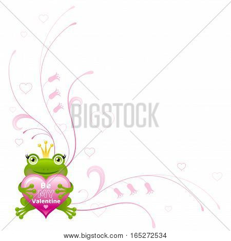 Happy Valentines day border, Frog prince heart - romance. Be my Valentine text letter, isolated love frame white background. Cute romantic vector illustration. Holiday corner design. Flat cartoon sign