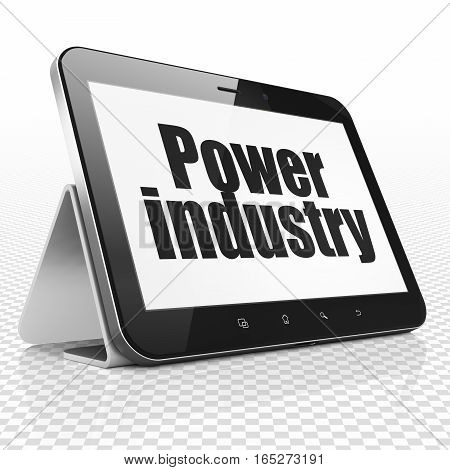 Industry concept: Tablet Computer with black text Power Industry on display, 3D rendering