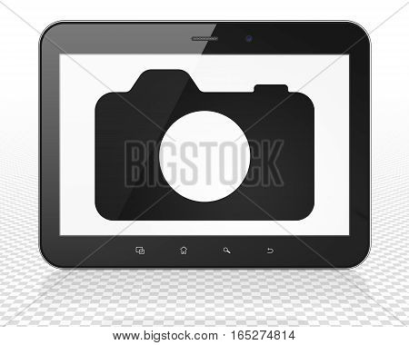 Vacation concept: Tablet Pc Computer with black Photo Camera icon on display, 3D rendering