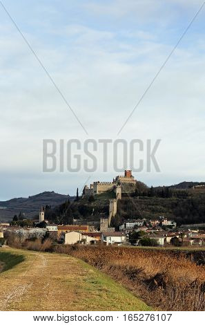 Soave Verona Italy Ancient Castle With Old Medieval Walls