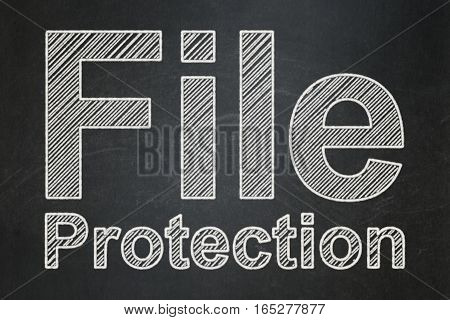 Protection concept: text File Protection on Black chalkboard background
