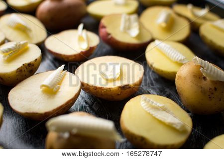 Potato With Butter On A Baking Plate