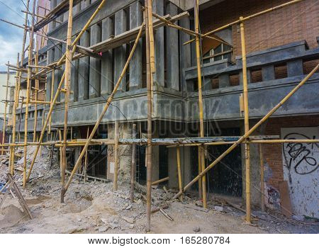On progress build a building with scaffolding photo taken in Jakarta Indonesia java