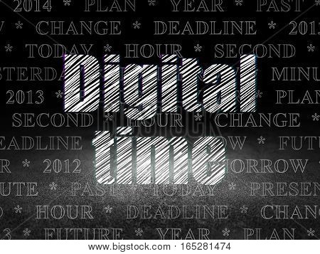 Timeline concept: Glowing text Digital Time in grunge dark room with Dirty Floor, black background with  Tag Cloud