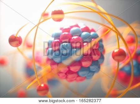 3D Illustration of an atom that is the smallest constituent unit of ordinary matter that has the properties of a chemical element.