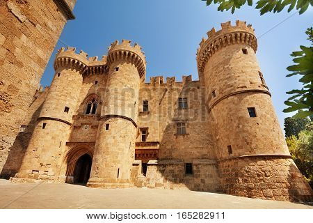A symbol of Rhodes, the famous Knights Grand Master Palace in the Medieval town, Greece