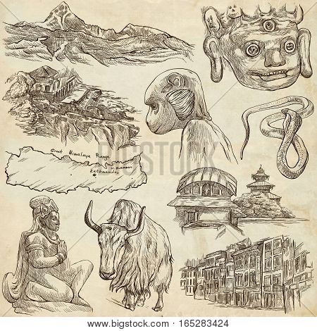 Travel NEPAL. Pictures of Life. Full sized hand drawing collection. Hand drawn illustrations. Pack of freehand sketches on old paper background. Traveling around Federal Democratic Republic of Nepal.