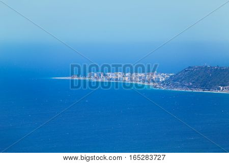 Beautiful aerial view of Rhodes skyline in haze from lookout viewpoint, Greece
