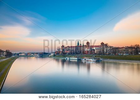 Wawel Castle In The Evening In Krakow, Poland. Long Time Exposure