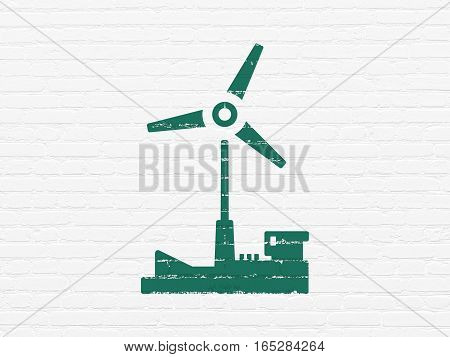 Industry concept: Painted green Windmill icon on White Brick wall background
