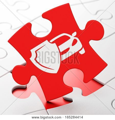 Insurance concept: Car And Shield on Red puzzle pieces background, 3D rendering
